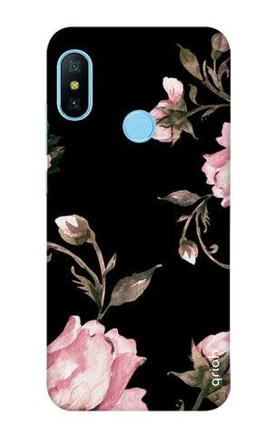 Pink Roses On Black Xiaomi Redmi 6 Pro Cases & Covers Online