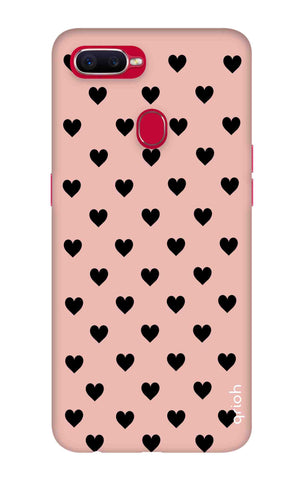 Black Hearts On Pink Oppo F9 Pro Cases & Covers Online
