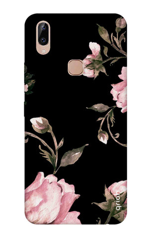 Pink Roses On Black Vivo Y83 Pro Cases & Covers Online