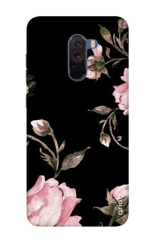 Pink Roses On Black Xiaomi Pocophone F1 Cases & Covers Online