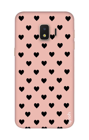 Black Hearts On Pink Samsung J2 Core Cases & Covers Online
