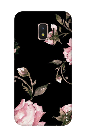 Pink Roses On Black Samsung J2 Core Cases & Covers Online