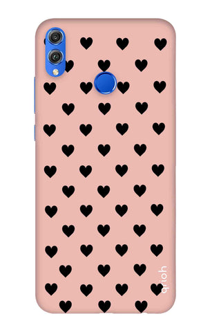 Black Hearts On Pink Huawei Honor 8X Cases & Covers Online