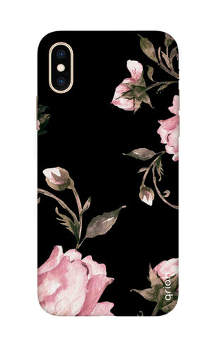Pink Roses On Black iPhone XS Max Cases & Covers Online