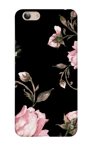 Pink Roses On Black Vivo Y53 Cases & Covers Online