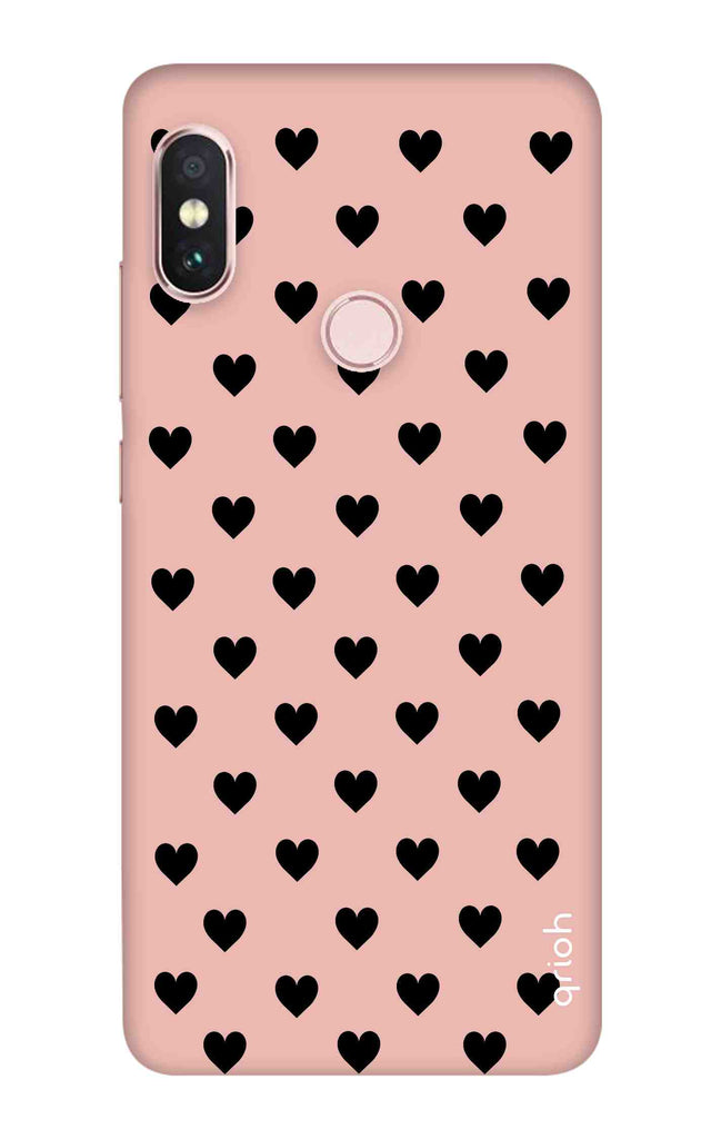 new product 8b9f6 f12be Black Hearts On Pink Case for Xiaomi Redmi Note 6 Pro