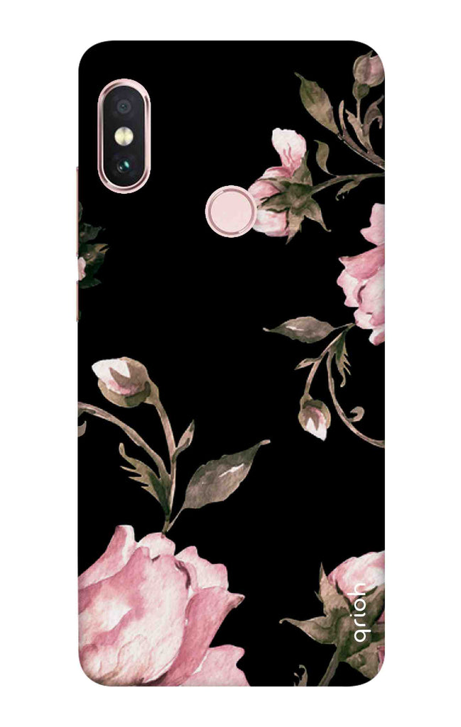purchase cheap a3503 9fcf8 Pink Roses On Black Case for Xiaomi Redmi Note 6 Pro