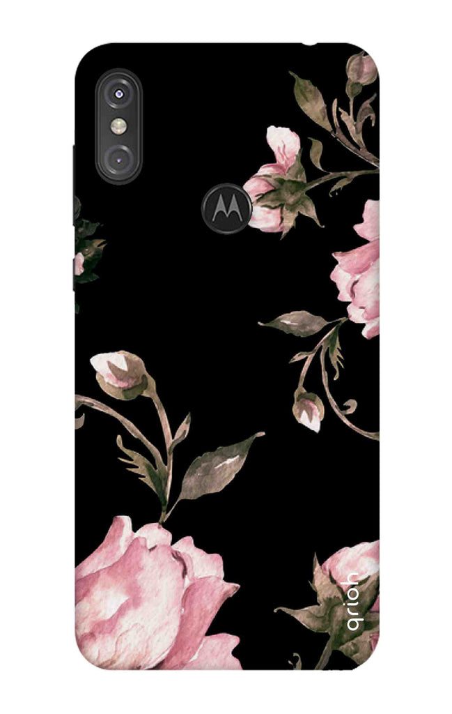 new product 4b85f 58057 Pink Roses On Black Case for Motorola One Power