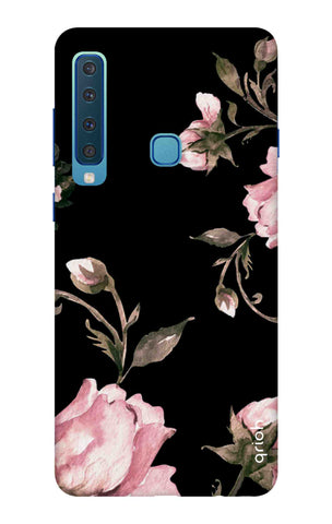Pink Roses On Black Samsung A9 2018 Cases & Covers Online