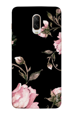 Pink Roses On Black OnePlus 6T Cases & Covers Online