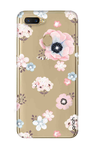 Beautiful White Floral Oppo A7 Cases & Covers Online