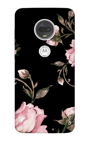 Pink Roses On Black Motorola Moto G7 Cases & Covers Online