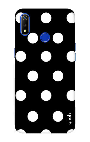 White Polka On Black Realme 3 Cases & Covers Online