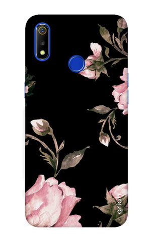Pink Roses On Black Realme 3 Cases & Covers Online