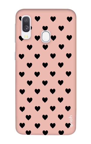 Black Hearts On Pink Samsung Galaxy A40 Cases & Covers Online