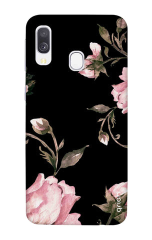 Pink Roses On Black Samsung Galaxy A40 Cases & Covers Online