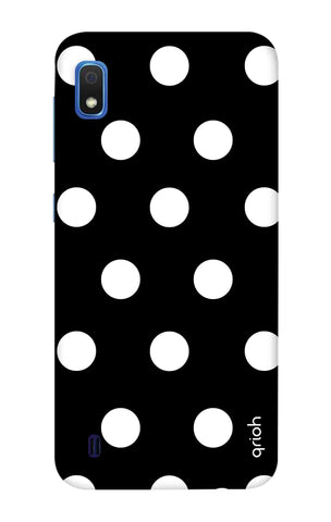 White Polka On Black Samsung Galaxy A10 Cases & Covers Online