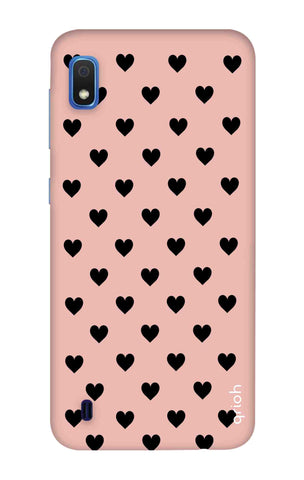 Black Hearts On Pink Samsung Galaxy A10 Cases & Covers Online