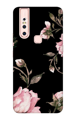 Pink Roses On Black Vivo S1 Cases & Covers Online
