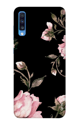 Pink Roses On Black Samsung Galaxy A70 Cases & Covers Online