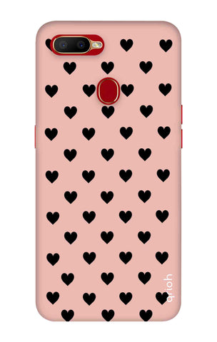 Black Hearts On Pink Oppo A5s Cases & Covers Online