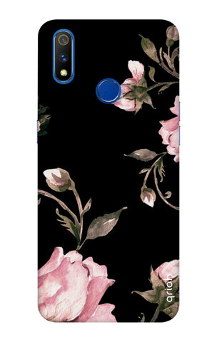 Pink Roses On Black Realme 3 Pro Cases & Covers Online