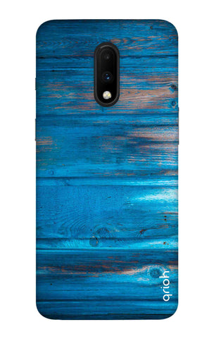 Blue Wooden OnePlus 7 Cases & Covers Online