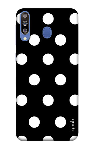 White Polka On Black Samsung Galaxy M40 Cases & Covers Online