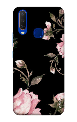 Pink Roses On Black Vivo Y12 Cases & Covers Online