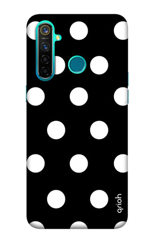 White Polka On Black Realme 5 Pro Cases & Covers Online