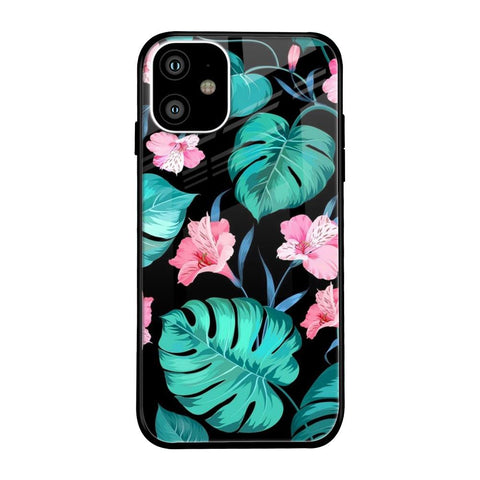 Tropical Leaves & Pink Flowers iPhone 11 Glass Cases & Covers Online