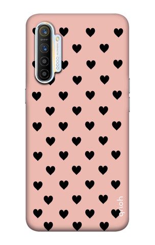 Black Hearts On Pink Realme XT Cases & Covers Online