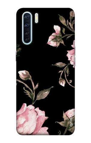 Pink Roses On Black Oppo F15 Cases & Covers Online