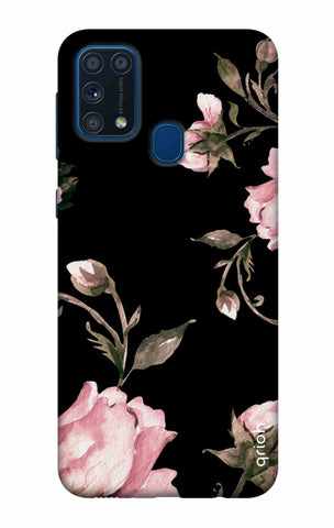 Pink Roses On Black Samsung Galaxy M31 Cases & Covers Online