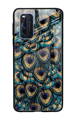 Peacock Feathers Vivo V19 Glass Cases & Covers Online