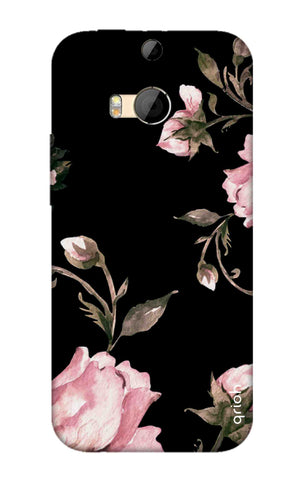 Pink Roses On Black HTC M8 Cases & Covers Online