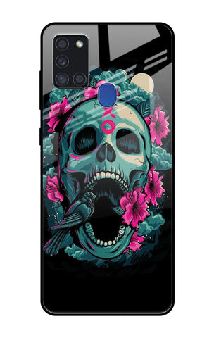 Colorful skull Texture Samsung Galaxy A21s Glass Cases & Covers Online
