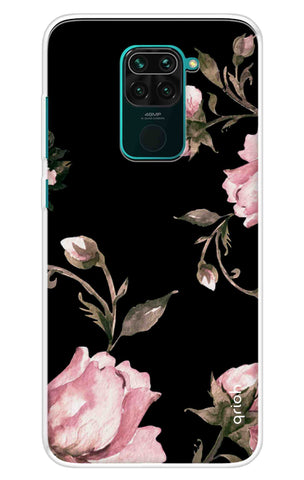 Pink Roses On Black Redmi Note 9 Cases & Covers Online