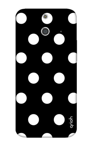 White Polka On Black HTC E8 Cases & Covers Online