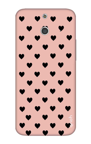 Black Hearts On Pink HTC E8 Cases & Covers Online