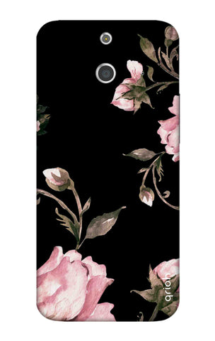 Pink Roses On Black HTC E8 Cases & Covers Online