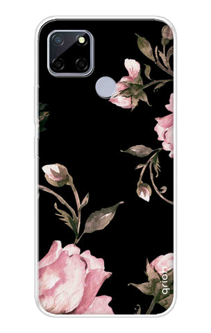 Pink Roses On Black Realme C12 Cases & Covers Online