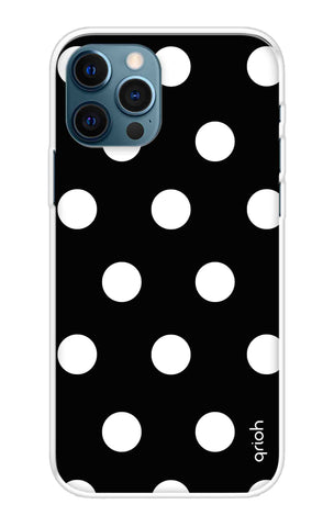 White Polka On Black iPhone 12 Pro Cases & Covers Online