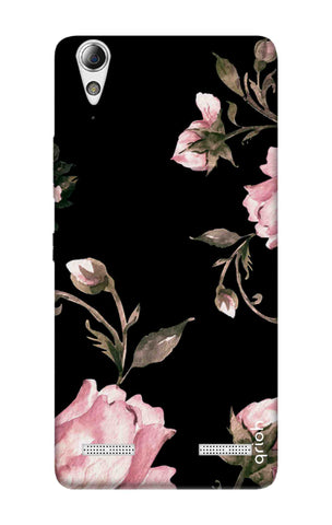 Pink Roses On Black Lenovo A6000 Cases & Covers Online