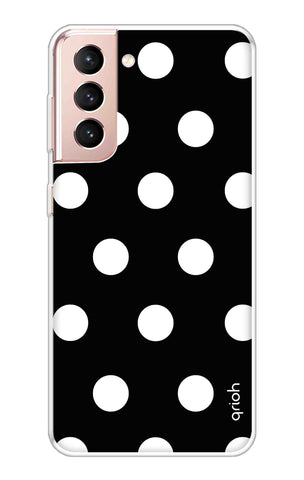White Polka On Black Samsung Galaxy S21 Cases & Covers Online