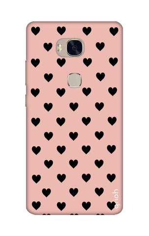 Black Hearts On Pink Honor 5X Cases & Covers Online