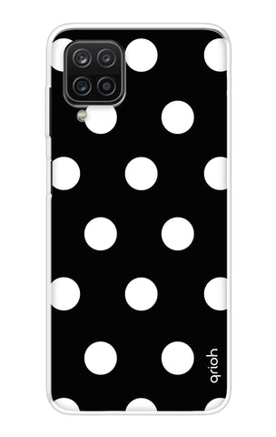 White Polka On Black Samsung Galaxy A12 Cases & Covers Online