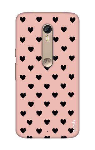 Black Hearts On Pink Motorola Moto X Style Cases & Covers Online