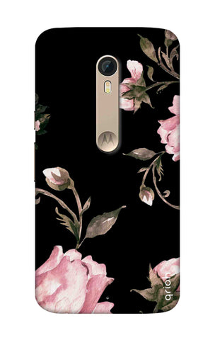 Pink Roses On Black Motorola Moto X Style Cases & Covers Online
