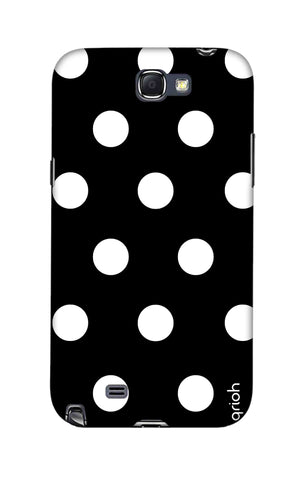 White Polka On Black Samsung Note 2 Cases & Covers Online